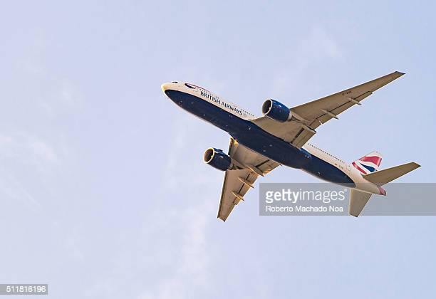 Boeing 747 British Airways climbs after take off New York USA British Airways is one of the oldest airlines and rated top 3 biggest in Europe