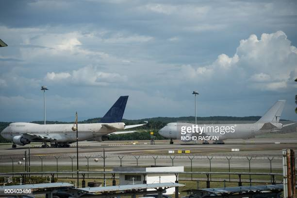 Boeing 747200F planes with registration numbers as TFARM and TFARN are seen parked on the tarmac at Kuala Lumpur International Airport in Sepang on...