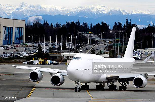 Boeing 7478 Intercontinental airliner which will be delivered to an undisclosed VIP customer taxis before taking off at the Paine Field February 28...