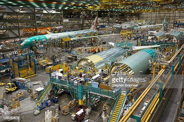 Boeing 777 passenger planes in various stages of completion sit on one of the assembly lines February 14 2011 at the company's factory in Everett...