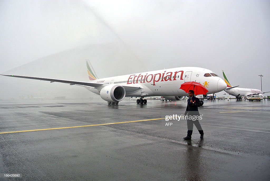 A Boeing 787 Dreamliner is hosed down on arrival in Addis Ababa on August 17 2012 Ethiopian Airlines received Africa's first Boeing 787 Dreamliner on...