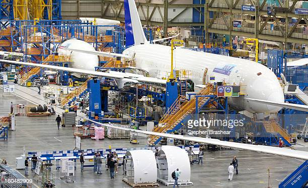 Boeing 787 Dreamliner sits on the assembly line June 13 2012 at the Boeing Factory in Everett Washington