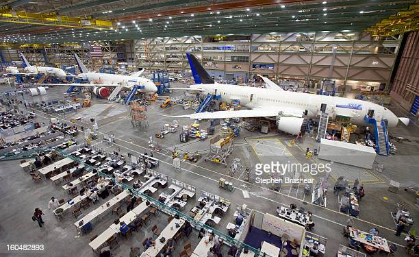 Boeing 787 Dreamliners sit on the assembly line June 13 2012 at the Boeing Factory in Everett Washington