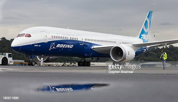 Boeing 7879 Dreamliner taxis after concluding its first flight September 17 2013 at Boeing Field in Seattle Washington The 7879 is twenty feet longer...