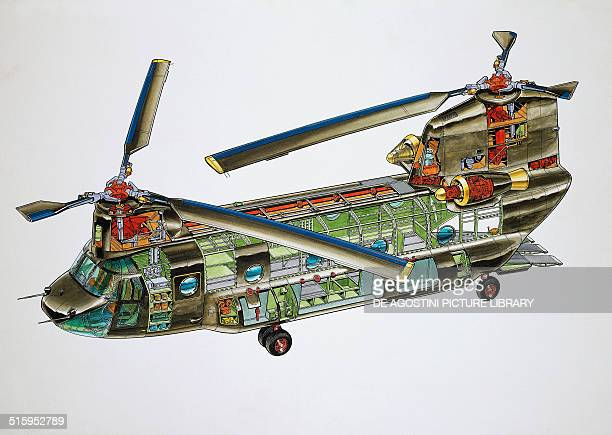 Boeing Ch47D Chinook helicopter United States of America cutaway drawing