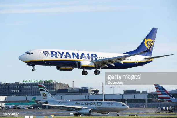 A Boeing Co 737 passenger aircraft operated Ryanair Holdings Plc comes in to land at Dublin Airport in Dublin Ireland on Thursday Sept 21 2017...