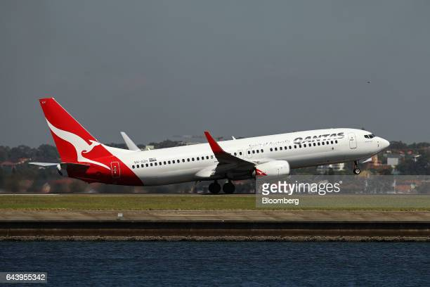 A Boeing Co 737800 aircraft operated by Qantas Airways Ltd takes off from Sydney Airport in Sydney Australia on Thursday Feb 23 2017 Qantas'...