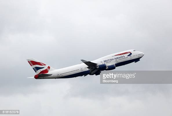 A Boeing Co 747 passenger aircraft operated by British Airways a unit of International Consolidated Airlines Group SA takes off at Heathrow airport...