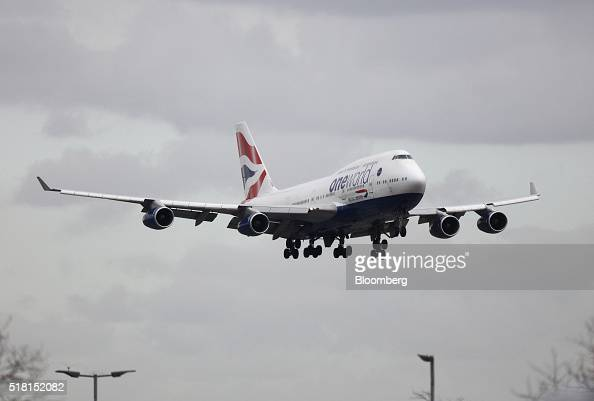 A Boeing Co 747 passenger aircraft operated by British Airways a unit of International Consolidated Airlines Group SA prepares to land at Heathrow...