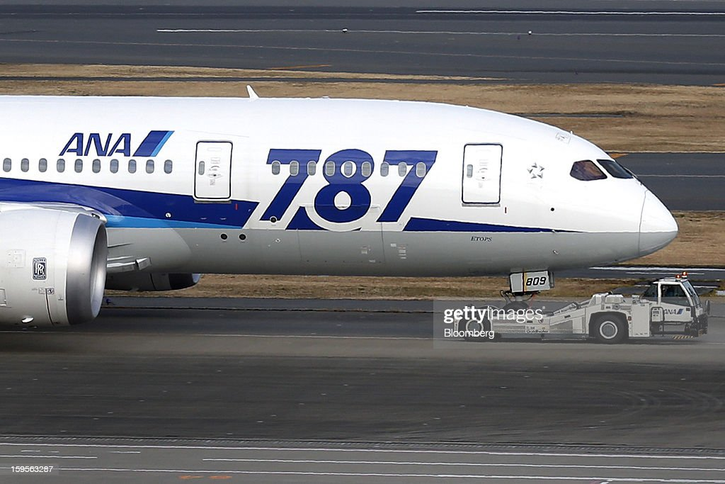 A Boeing Co. 787 Dreamliner aircraft operated by All Nippon Airways Co. (ANA) taxies at Haneda Airport in Tokyo, Japan, on Wednesday, Jan. 16, 2013. ANA and Japan Airlines Co. (JAL), the world's largest users of Boeing Co. 787 jets, grounded their entire fleet of Dreamliners for today in the biggest blow yet to the troubled passenger jet's image. Photographer: Kiyoshi Ota/Bloomberg via Getty Images