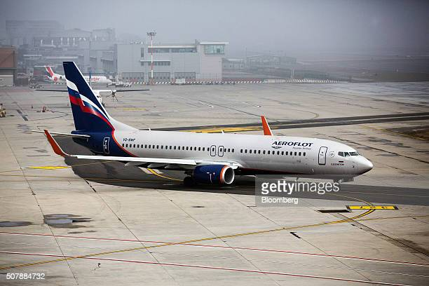 A Boeing Co 787 passenger aircraft operated by Aeroflot Russian Airlines PJSC taxis on the tarmac at Venice Marco Polo Airport in Venice Italy on...
