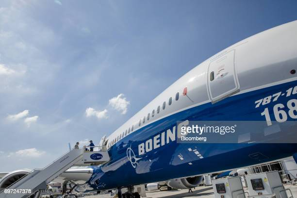 A Boeing Co 78710 aircraft stands on the tarmac ahead of the 53rd International Paris Air Show at Le Bourget in Paris France on Sunday June 18 2017...