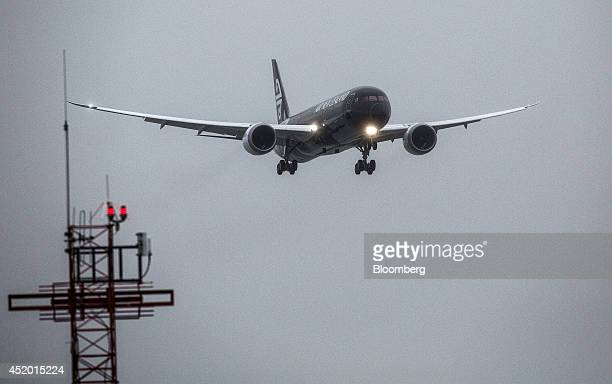 A Boeing Co 7879 Dreamliner aircraft operated by Air New Zealand Ltd approaches to land at Auckland International Airport in Auckland New Zealand on...