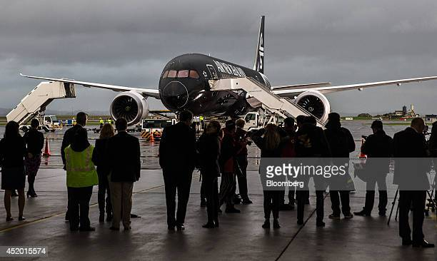 A Boeing Co 7879 Dreamliner aircraft operated by Air New Zealand Ltd stands on the tarmac after touching down at Auckland International Airport as...