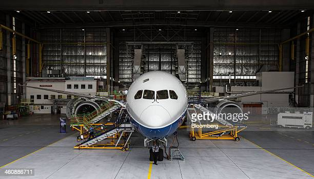A Boeing Co 7879 Dreamliner test aircraft stands in a hangar at Air New Zealand Ltd's technical operations base at Auckland International Airport in...