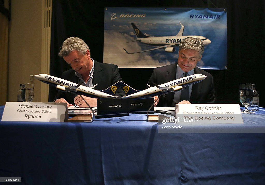 Boeing Commercial Airplanes President & CEO Ray Conner (R), and Ryanair CEO Michael O'Leary sign a $15.6 billion purchase agreement on March 19, 2013 in New York City. Ryanair, Europe's largest low-cost air carrier, agreed to buy 175 new Next Generation 737-800 airplanes. According to Ryanair, the deal will create more than 3,000 new jobs for pilots, cabin crew and engineers across Europe.