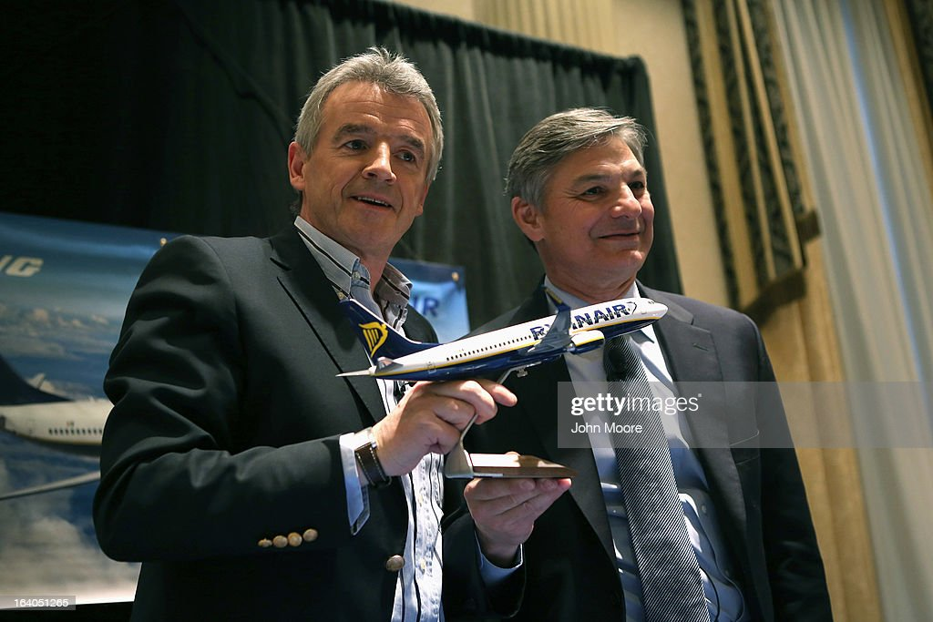 Boeing Commercial Airplanes President & CEO Ray Conner (R), and Ryanair CEO <a gi-track='captionPersonalityLinkClicked' href=/galleries/search?phrase=Michael+O%27Leary&family=editorial&specificpeople=5600252 ng-click='$event.stopPropagation()'>Michael O'Leary</a> pose after signing a $15.6 billion purchase agreement on March 19, 2013 in New York City. Ryanair, Europe's largest low-cost air carrier, agreed to buy 175 new Next Generation 737-800 airplanes. According to Ryanair, the deal will create more than 3,000 new jobs for pilots, cabin crew and engineers across Europe.