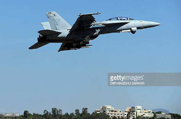 A Boeing F/A18 Super Hornet flies past during the Aero India 2011 inauguration day at the Yelhanka Air Force station in Bangalore on February 9 2011...