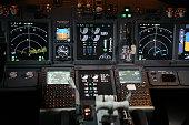 Flight instruments in cockpit