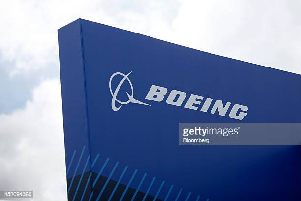 A Boeing logo sits on the Boeing Co company's chalet prior to the opening of the Farnborough International Airshow in Farnborough UK on Sunday July...
