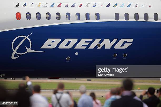 Boeing plane departs to perform in an aerial flying display on day four of the Farnborough International Airshow on July 16 2014 in Farnborough...
