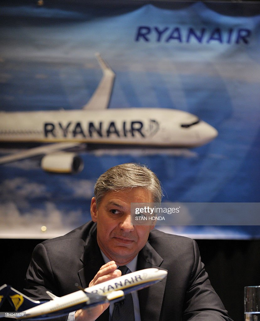 Boeing President and CEO Ray Conner announces a commitment by Ryanair to order 175 Boeing Next-Generation 737-800s worth USD $15.6 billion at a press conference March 19, 2013 in New York. AFP PHOTO/Stan HONDA