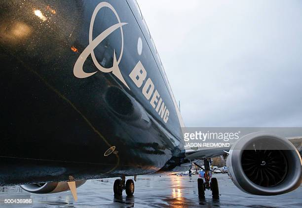 Boeing's first 737 MAX named the 'Spirit of Renton' is parked on the tarmac at the Boeing factory in Renton Washington on December 8 2015 The latest...