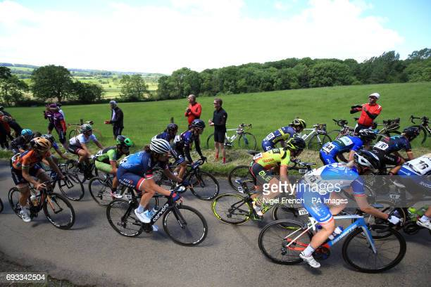 Boels Dolmans Cycling's Lizzie Deignan competes in the SKODA Queen of the Mountains stage one at Haselbech during the Women's Tour of Britain from...