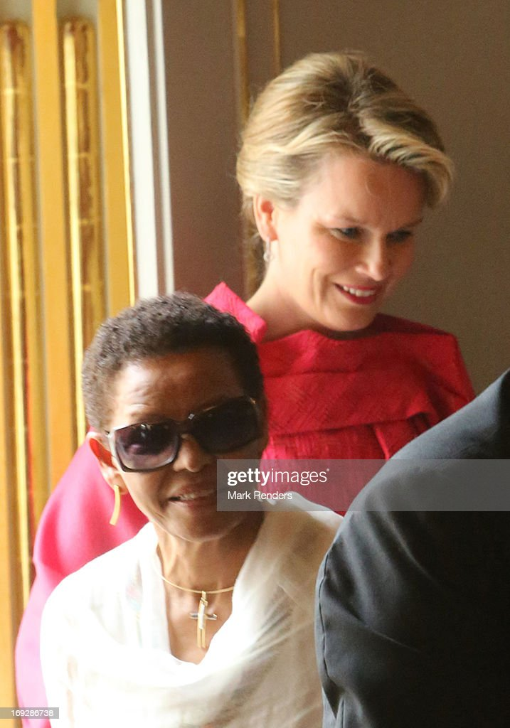 Bogaletch Gebre and Princess Mathilde of Belgium assist the King Baudouin African Development Price at the Royal Palace on May 22, 2013 in Brussel, Belgium.