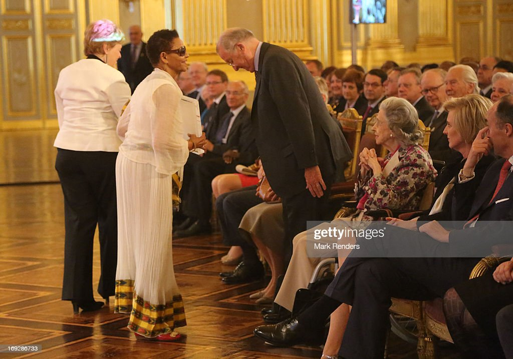 Bogaletch Gebre, King Albert, Queen Fabiola, Princess Astrid and Prince Lorentz of Belgium assist the King Baudouin African Development Price at the Royal Palace on May 22, 2013 in Brussel, Belgium.