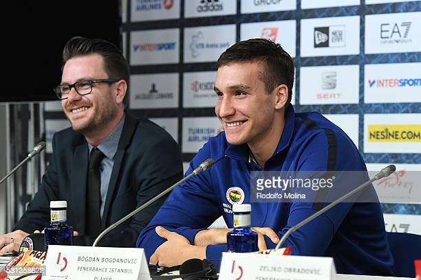 Bogdan Bogdanovic #13 and Alex Ferrer Euroelague Marketing and Communications Director during the Turkish Airlines Euroleague Basketball Final Four...