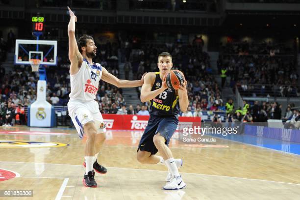Bogdan Bogdanovic #13 forward of Fenerbahce Ulker Istanbul and Sergio Llull #23 guard of Real Madrid during the 2016/2017 Turkish Airlines Euroleague...