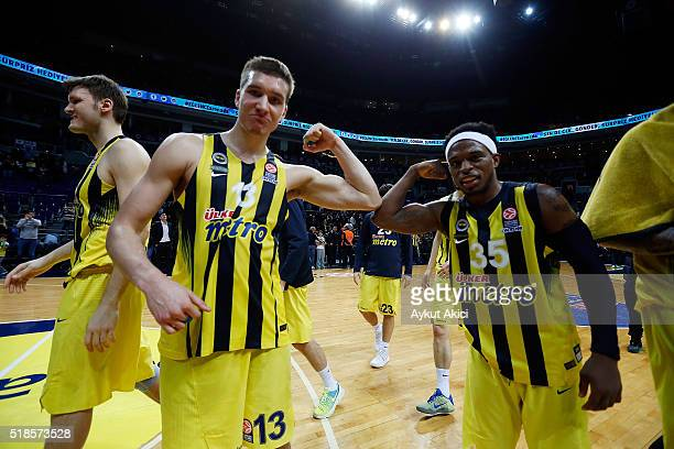 Bogdan Bogdanovic #13 of Fenerbahce Istanbul and Bobby Dixon #35 of Fenerbahce Istanbul celebrate victory during the 20152016 Turkish Airlines...