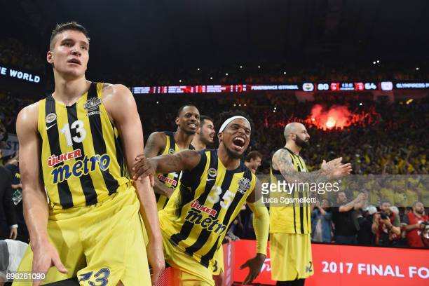 Bogdan Bogdanovic #13 of Fenerbahce Istanbul and Bobby Dixon #35 of Fenerbahce Istanbul celebrates at the end of the Championship Game 2017 Turkish...