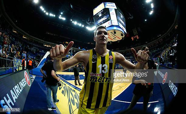 Bogdan Bogdanovic #13 of Fenerbahce Istanbul celebrate victory during the 20152016 Turkish Airlines Euroleague Basketball Top 16 Round 9 game between...