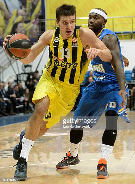 Bogdan Bogdanovic #13 of Fenerbahce Istanbul in action during the Turkish Airlines Euroleague Basketball Regular Season Round 10 game between Khimki...