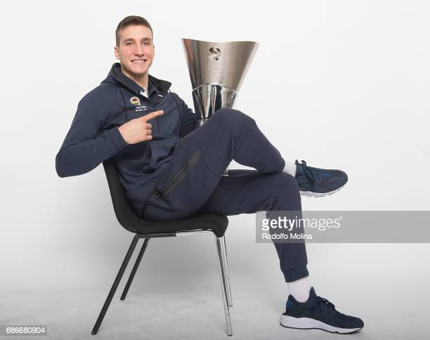 Bogdan Bogdanovic #13 of Fenerbahce Istanbul pose with the Trophy duringTurkish Airlines EuroLeague Basketball Final Four istanbul 2017 Champion...