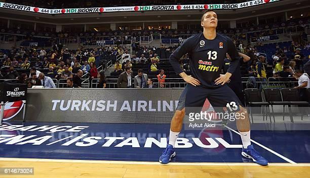 Bogdan Bogdanovic #13 of Fenerbahce Istanbul warmsup prior to the 2016/2017 Turkish Airlines EuroLeague Regular Season Round 1 game between...
