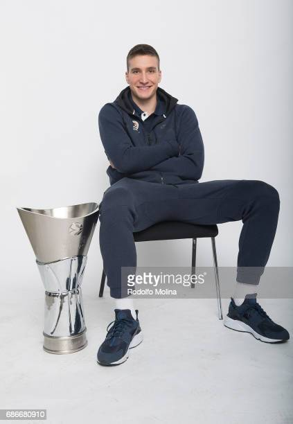 Bogdan Bogdanovic #13 of Fenerbahce pose with Trophy duringTurkish Airlines EuroLeague Basketball Final Four Istanbul 2017 Champion Photo Session at...
