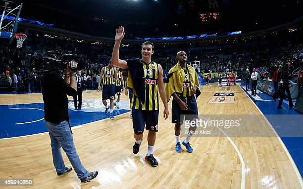 Bogdan Bogdanovic #13 of Fenerbahce Ulker Istanbul celebrates victory during the 20142015 Turkish Airlines Euroleague Basketball Regular Season Date...