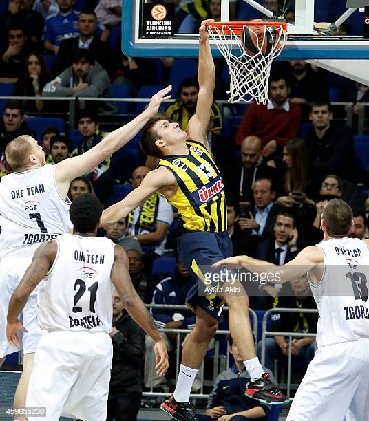 Bogdan Bogdanovic #13 of Fenerbahce Ulker Istanbul in action during the 20142015 Turkish Airlines Euroleague Basketball Regular Season Date 7 game...
