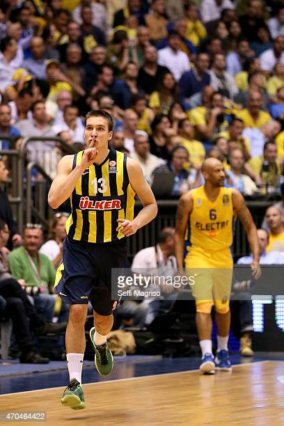 Bogdan Bogdanovic #13 of Fenerbahce Ulker Istanbul in action during the 20142015 Turkish Airlines Euroleague Basketball Play Off Game 3 between...