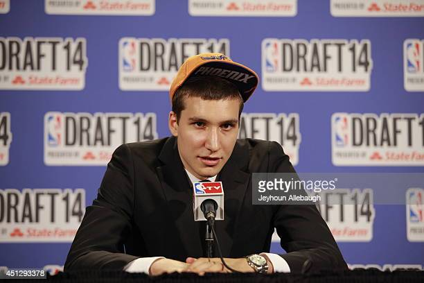 Bogdan Bogdanovic addresses the media after being selected 27th overall by the Phoenix Suns during the 2014 NBA Draft on June 26 2014 at the Barclays...