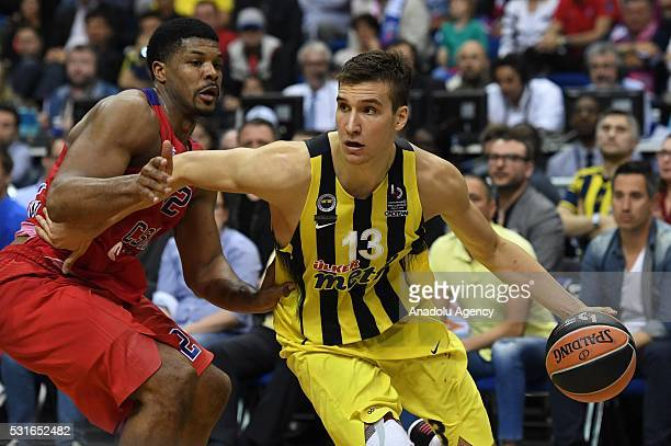 Bogdan Bogdanovic of Fenerbahce in action against Anton Astapokovich of Moscow during the Turkish Airlines Euroleague Final game between Fenerbahce...