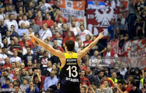 Bogdan Bogdanovic of Fenerbahce Istanbul celebrates during the Turkish Airlines Euroleague Basketball Top 16 Round 2 game between Crvena Zvezda...
