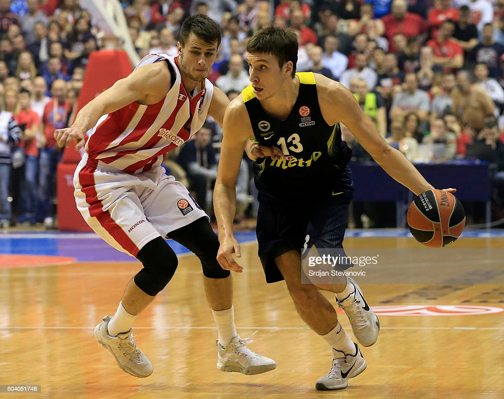 Bogdan Bogdanovic (R) of Fenerbahce Istanbul in action against Nemanja Dangubic (L) of Crvena Zvezda Telekom Belgrade during the Turkish Airlines Euroleague Basketball Top 16 Round 2 game between Crvena Zvezda Telekom Belgrade and Fenerbahce Istanbul in Pionir Hall on January 08, 2015 in Belgrade, Serbia.