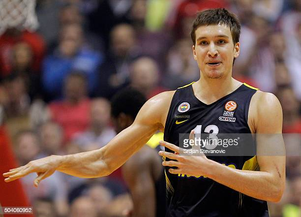 Bogdan Bogdanovic of Fenerbahce Istanbul reacts during the Turkish Airlines Euroleague Basketball Top 16 Round 2 game between Crvena Zvezda Telekom...