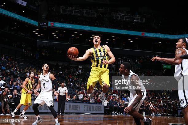 Bogdan Bogdanovic of Fenerbahce shoots the ball against the Brooklyn Nets during a preseason game on October 5 2015 at Barclays Center in Brooklyn...