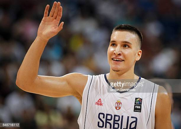 Bogdan Bogdanovic of Serbia celebrate during the 2016 FIBA World Olympic Qualifying basketball Final match between Serbia and Puerto Rico at Kombank...