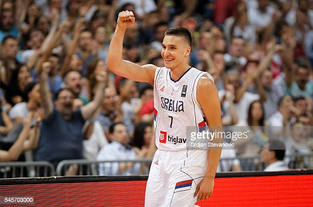 Bogdan Bogdanovic of Serbia celebrates during the 2016 FIBA World Olympic Qualifying basketball Final match between Serbia and Puerto Rico at Kombank...